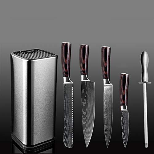 Cuchillos cocina Cuchillo de cocina el chef titular cuchillo de acero inoxidable tijeras cuchillo Santoku helicóptero pan pelado herramientas de cocina (Color : 6PCS Set B)