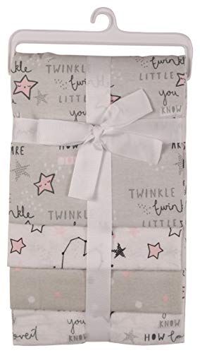 Nicole Miller New York Baby Girls 4 Pack Laddered Receiving Blankets with Print, Twinkle Stars