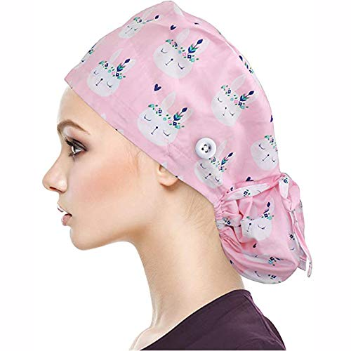 N-B Gorro Quirúrgico Mujer 100% Algodón Reutilizable Dibujos de Tie- dye Floral con Banda de Sudor Botón Gorro Enfermera Personalizado Ajustable Diseño de Bolsa de Cola de Caballo Gorro de Belleza