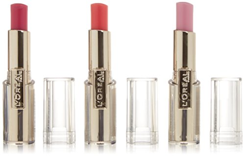 L'Oreal Rouge Caress Lipstick, Sensual Colour 3er Pack (Aphrodite Scarlet, Pink Fashionista +...