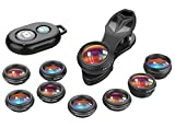 APEXEL 10 in 1 Cell Phone Camera Lens Kit Wide Angle&Macro Lens+Fisheye Lens+Telephoto Lens+Kaleidoscope/CPL/Flow/Radial/Star Filter+Bluetooth Shutter for iPhone Samsung Huawei and most Smartphone