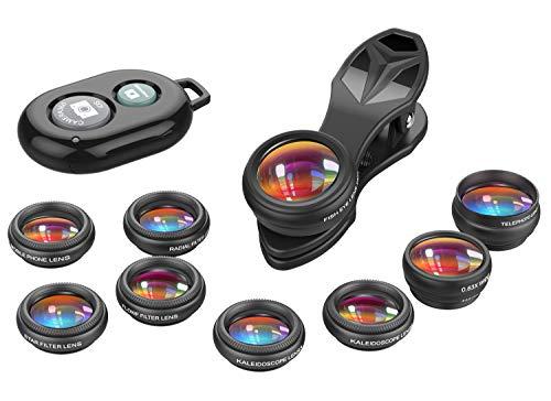 APEXEL11in1 Kit de lentes móviles Lente gran angular y macro+ojo de pez+ teleobjetivo+caleidoscopio/CPL/Flujo/Radial/Filtro de estrella+obturador para iPhone y la mayoría de los teléfonos inteligente