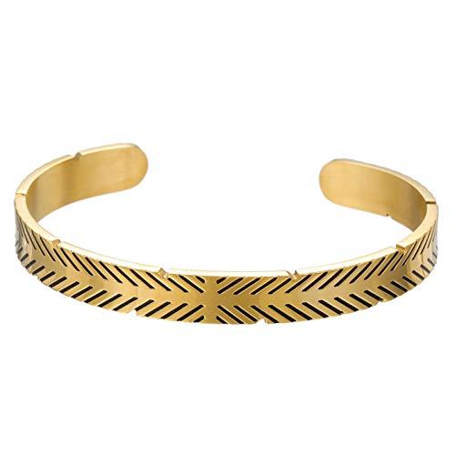 1 pulsera para mujer y hombre, estilo hip hop, estilo vintage, titanio envejecido, acero dorado
