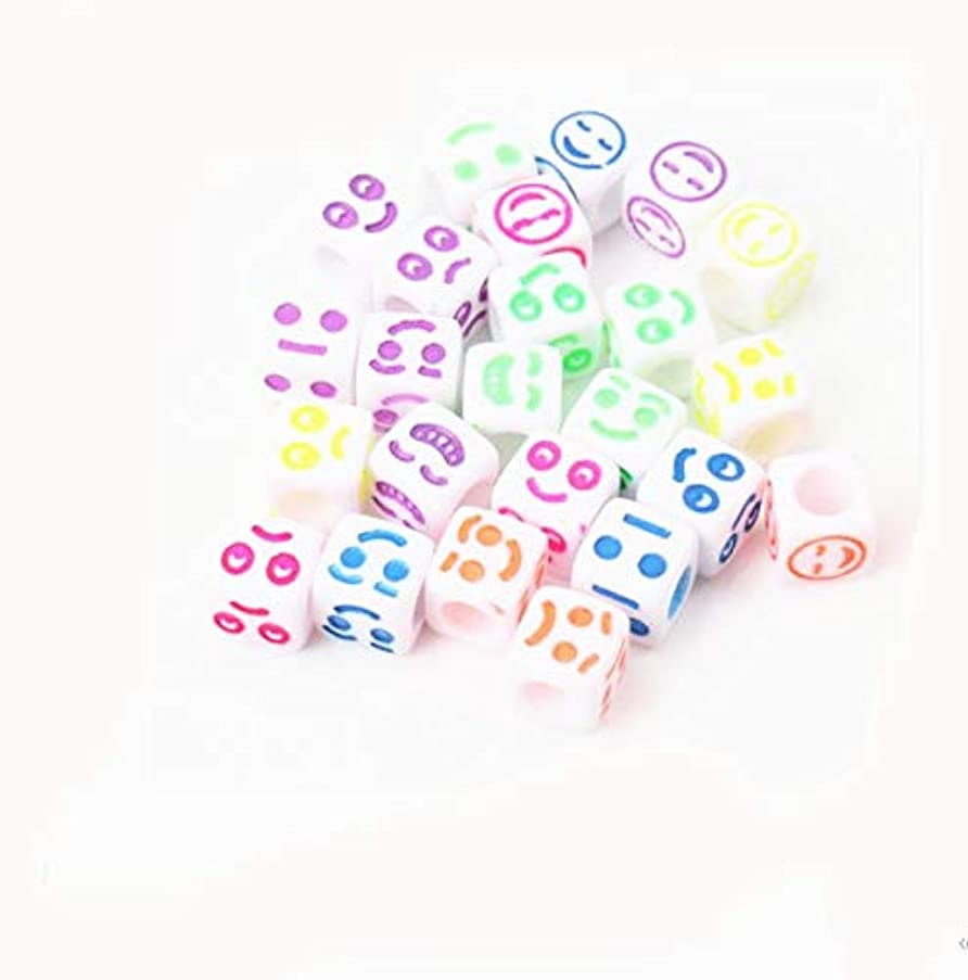300Pcs Mixed White Acrylic Material Smile Face Cube Pony Beads Spacer Loose Beads for Jewelry Making 6mm
