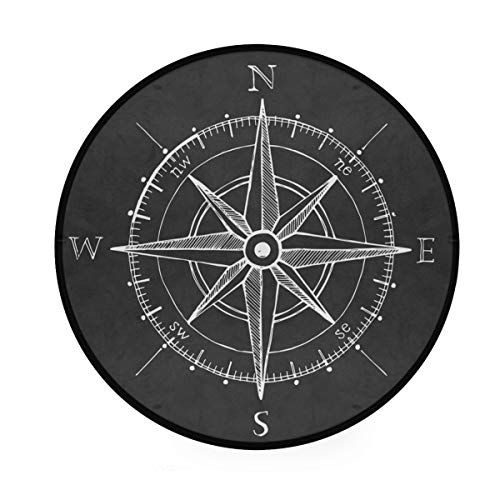 ALAZA Vintage Wind Rose Compass Non-Slip Round Area Rug for Bedroom Living Room Study Playing Floor Mat Carpet, 3' Diameter