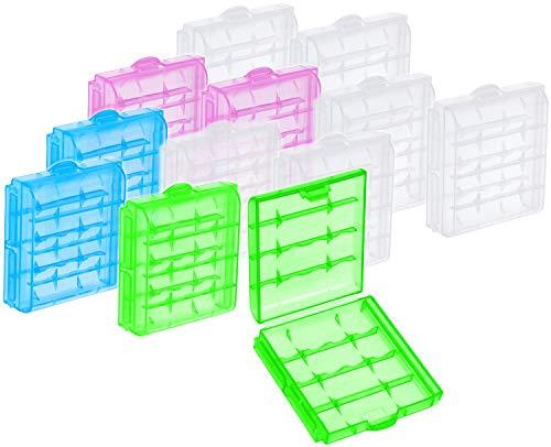 com-four® 12x Batteriebox aus Kunststoff - Aufbewahrungsbox für Batterien und Akkus - Akkubox für AA und AAA (12 Stück - Bunt)