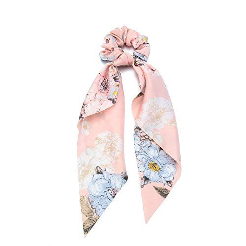 Frauen Mädchen Seil für Haare Lange Ribbon Zubehör für Haare Ponytail Scarf Elastische Haarbänder Krawatten mit Haaren Schrauben(Flower print pink)