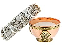 Hamsa Hand (Hand of God) Copper Offering Bowl Kit. Includes Sand and Sage