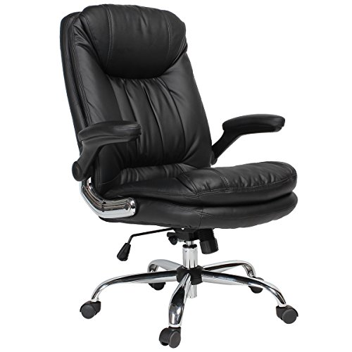 YAMASORO Ergonomic Executive Office Chair Black High Back Leather Computer Desk Chairs Adjustable Tilt Angle and Flip-up Arms Big for Man and Women