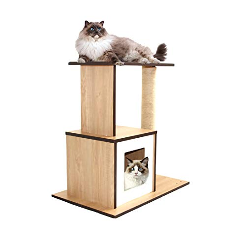 CUPETS Wooden Cat Tree Modern Cat Furniture Cat Condo with House,Cat Scratching Post Indoor 25 Inches High for Cats and Kittens