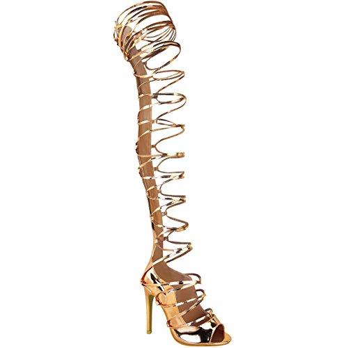Damen Stiefel-Sandalen mit Stiletto-Absatz - mit Schnürung bis zum Oberschenkel - Roségoldfarben Metallic - EUR 37