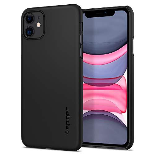 【Spigen】 iPhone 11 ケース 6.1インチ 対応 スリム 薄型 軽量 レンズ保護 擦り傷防止 カバー 指紋防止 シンプル マット仕上げ ワイヤレス充電対応 アイフォン シュピゲン シン・フィット 076CS27178 (ブラック)