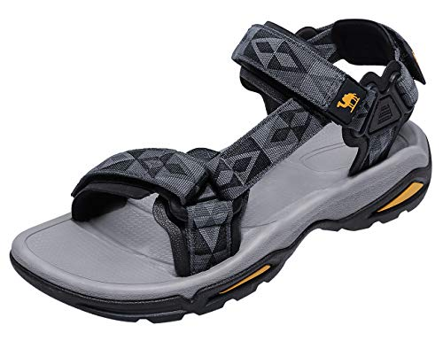 CAMEL CROWN Mens Hiking Sandals Waterproof with Arch Support Open Toe Summer Outdoor Comfort Beach Water Sport Sandals Grey/Black