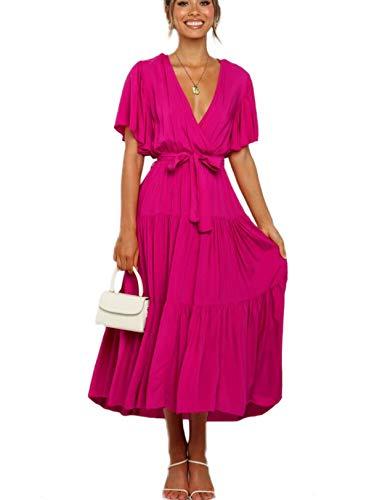 Vestido Mujer Bohemio Largo Verano Playa Fiesta Wrap Maxi Vestidos Cóctel Falda Larga con Cinturón Rosa S