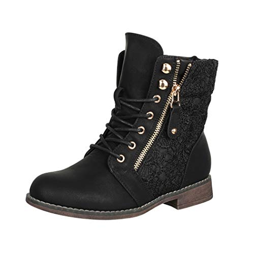 Elara Damen Stiefeletten Worker Boots Spitze Chunkyrayan B9812-KB-Schwarz-37