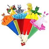 EQLEF Burattini da Mano, Hide & Seek Toy Retrattile Piccolo Peluche Toy Animal Puppet Interactive Toy per Bambini Festa di Compleanno - 6 Pezzi