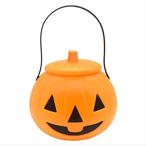 ECHOU Linterna de Calabaza de Halloween para nios Cubo de Calabaza porttil Azul Linterna de Cabeza de Calabaza para nios Que Brilla intensamente Tarro de Dulces decoracin de Halloween