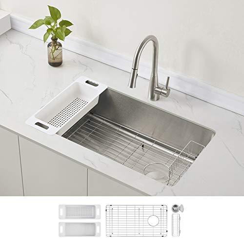 ZUHNE Stainless Steel Single Bowl Kitchen Sink with Offset Drain (32 Inch Undermount)