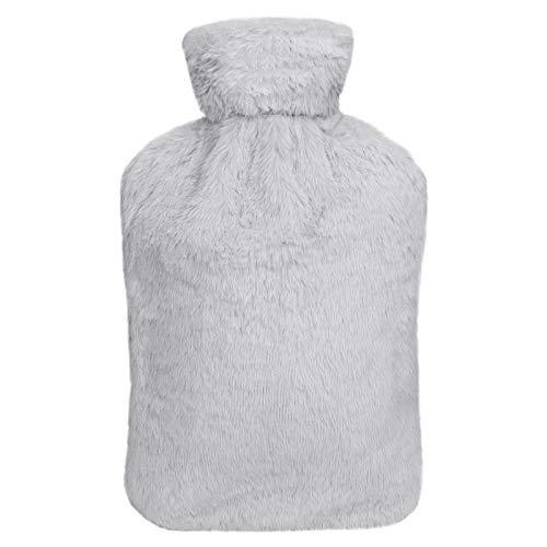 Botella de Agua Caliente, Bolsa de Agua Caliente con Cubierta de Felpa Suave Natural Goma Hot Water Bottle para Noches Frías de Invierno 1.8L Gris