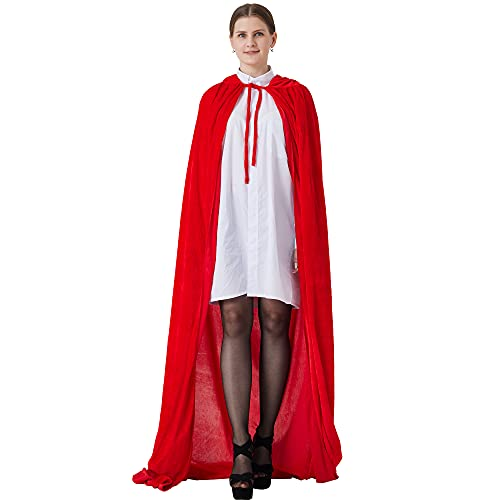 GraduatePro Caperucita Roja Disfraz Mujer Halloween Cosplay Capa con Capucha Larga Bruja Vampiro Princesa