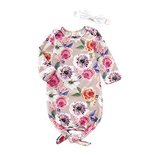 chemises de nuit pour bébé 2pcs / set sac de couchage floral nouveau-né à manches longues avec serre-tête/chapeau tenues de soirée bébé fille vêtements de nuit chemise de nuit