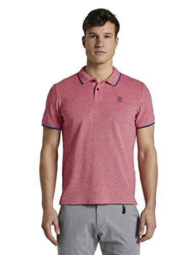 TOM TAILOR Herren Poloshirts Poloshirt in Two-Tone Optik red Two Tone Pique,L