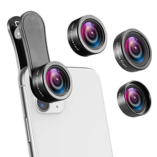 Phone Camera Lens, 230° Fisheye Lens, 15X Macro Lens, 0.65X Wide Angle Lens, Clip-On 3 in 1 Cell Phone Lens for Live Video, Compatible with iPhone 11 Pro, X XR, Samsung, Other Smartphones