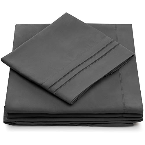 Cosy House Collection 1500 Series - King Size Bed Sheet Set - Ultra Soft Deep Pocket Luxury Bedding - 4 Piece Bedset (King, Grey)