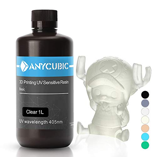 ANYCUBIC 3D Printer UV Resin 405nm Rapid Photopolymer for Photon/S Liquid 3D Resin Universal High Precision for LCD/DLP/SLA 3D Printers, 1L Clear