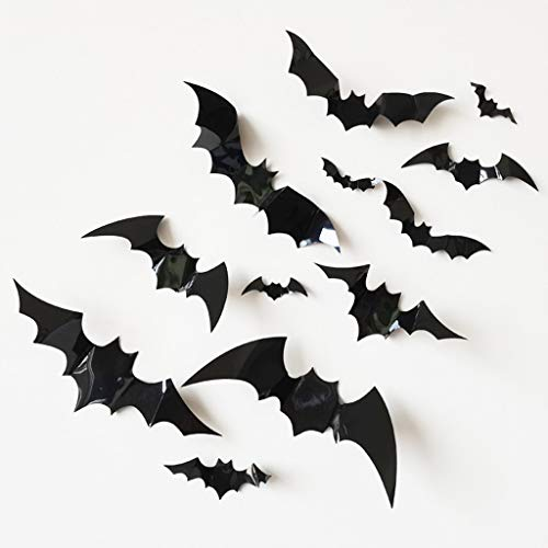 Wall Stickers,12pcs Halloween Bat Wall Stickers Home Decoration PVC Bat 3D Stereo Bat Stickers (B-Black)