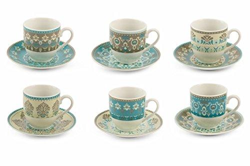 Villa d'Este Home Tivoli Cala Jondal Set Espressotassen, Porzellan, mehrfarbig, 6 Stück