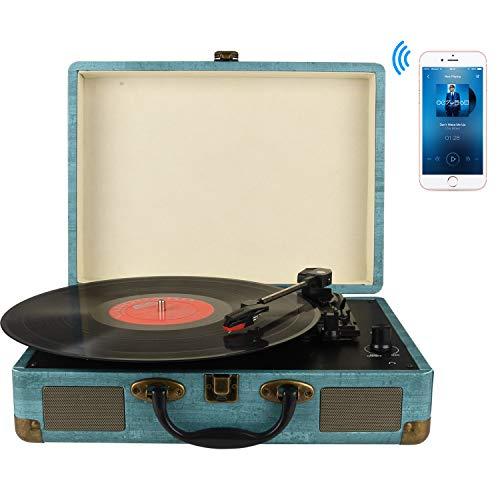 Plattenspieler ,3-Gang-Portable -Bluetooth Plattenspieler mit eingebauten Lautsprechern, Stützen Bluetooth, RCA-Ausgang, 3,5 mm Aux-In and Kopfhöreranschluss and MP3, Mobiltelefone Musikwiedergabe