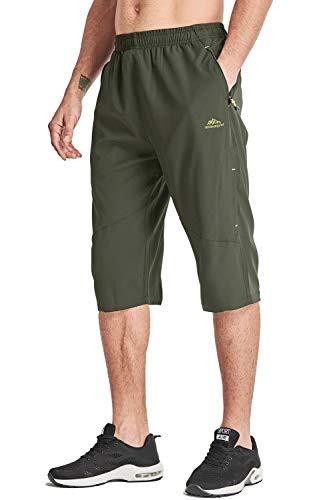 MAGCOMSEN Herren 3/4 Hose Wandern Sommer Kurze Hose Trekkingshorts für Männer Bermuda Shorts Schnelltrocknend Sporthose Knielang Shorts mit Gummibund Grün, 36