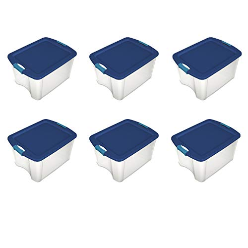 Sterilite 14469606 18 Gallon/68 Liter Latch and Carry, True Blue Lid and Clear Base with Blue Aquarium Latches, 6-Pack