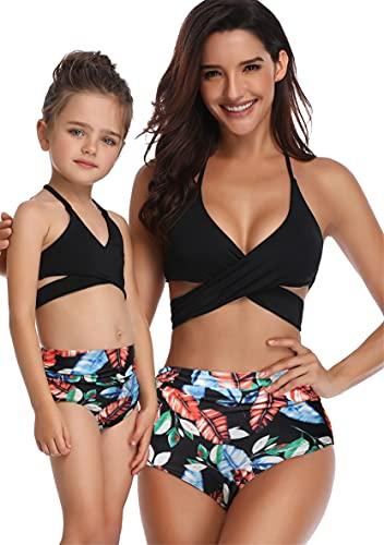 WIWIQS 2Pcs Baby Girl Swimsuit High Waisted Bathing Suit Halter Neck Swimwear Women Bikini Sets for Family Blue Flower M