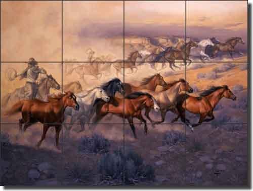 Western Horses Ceramic Tile Mural 17