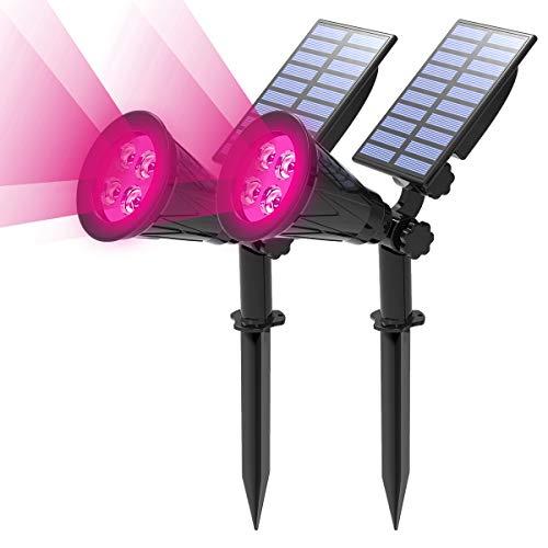 (2 Unidades) T-SUN Foco Solar, Impermeable Luces Solares Exterior, Luz de Jardín, 2 Modos de Iluminación Opcionales, ángulo de 180° Ajustable, Luz de Proyecto Solar para Entrada, Camino.(Rosado)