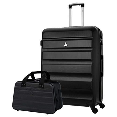 Aerolite 29' Large Lightweight ABS Hard Shell Check in Luggage Suitcase + Ryanair Max Size 40x20x25cm Hand Cabin Shoulder Flight Bag Black + Black