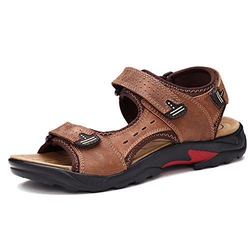 Sandalias Atléticas De Hombres Cuero Pescador Playa Zapatos Casuales Senderismo Punta Abierta Senderismo Sandalias Marrón Claro 46 EU