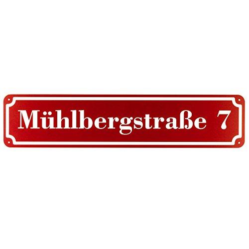 Langes Hausnummer und Straße Schild DUNKELROT 2mm Aluverbund, 50 x 11 cm jetzt selbst gestalten
