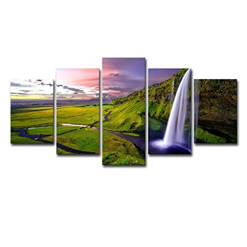 Five-Seller 5 Panel Wandkunst Malerei Strom Wasser Wasserfälle Wolken Cool Und Gras Drucke Auf Leinwand Natur Landschaft öl Für Haus Moderne Dekoration Drucken Dekor (with Frame,75 x 150 cm)