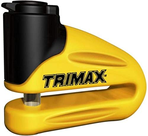 Trimax T665LY Hardened Metal Disc Lock - Yellow 10mm Pin (Long Throat) with Pouch & Reminder Cable