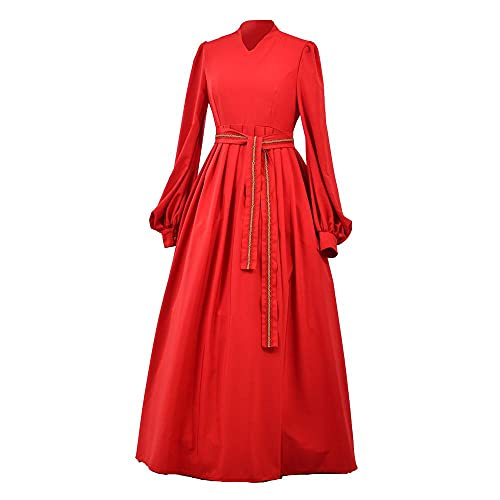 CosplayDiy Buttercup Costume Princess Dress Medieval Bride Dress Renaissance Red Peasant Cosplay Costume Outfit for Women Adult L