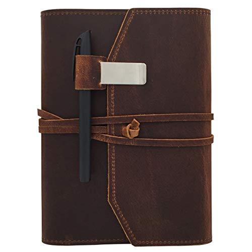 Nachfüllbares Leder-Tagebuch zum Schreiben – flach leere Notizblock 100 Blatt, handgefertigtes Ledergebundenes Tagebuch mit Innentaschen, Stift- und Stifthalter, 100 g/m² dickes Papier, A5 Größe