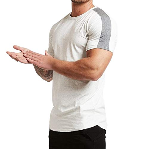 Magiftbox Mens Essential Short Sleeve Workout Tee Casual T-Shirts for Gym Training Jogging T19_White_US-S