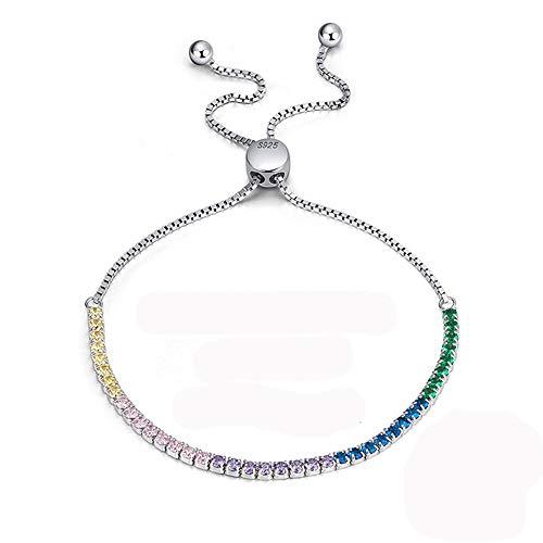 KIUY Pulsera de circonita cúbica 3 mm CZ Pulseras de Tenis chapadas en Oro Blanco para Mujer de 7,5 Pulgadas, Regalo de joyería Mujer,C