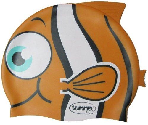 SwimmerWear Cuffia da Piscina in Silicone a Forma di Pesce Tropicale Taglia Unica per Il Nuoto (Arancione)