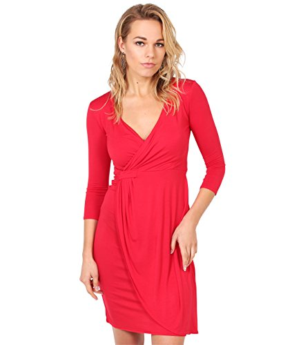 KRISP® Women Wrap Front Dress V Neck Pleated Cross Over, Rot (6174), EU 48 / UK 20