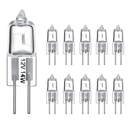 Vicloon G4 Modelo Bombilla Halógena, 10 Piezas 12V 20W Blanco Cálido Luz Lámpara Halógena con 2 Pin, Bombilla Transparente para Iluminación de Cocina [Clase de Eficiencia Energética A++]