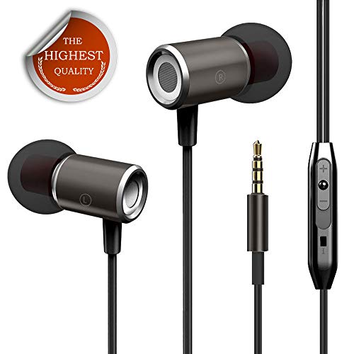 Earbuds, KINDRM 3.5mm Plug Stereo Wired Earbud Headphones in-Ear Deep Bass Earphones with Volume Control Microphone for iOS & Android Phone Laptops Gaming and All 3.5mm Jack Audio Device (Black)